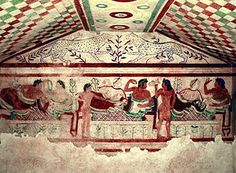 Tomb of the leopards  etruscan period  5th century  dry fresco  egg symbolizes rebirth  musicians and dancers