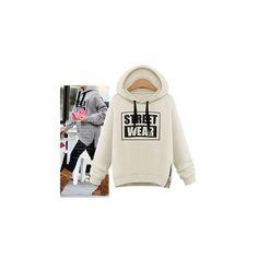 Lettering Hoodie (45 CAD) ❤ liked on Polyvore featuring tops, hoodies, sweatshirt, women, white hoodie, hooded sweatshirt, hooded pullover, hoodie top and white top