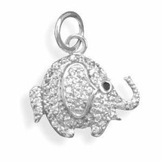 Elephant Pendant Pave Cubic Zirconia Rhodium on Sterling Silver AzureBella Jewelry. $30.77. .925 sterling silver with hard-wearing rhodium plate - same as white gold. Sparkling cubic zirconia. Jewelry gift box included