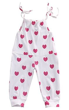 Baby Girl Cotton Red Heart Print Bodysuit Romper Leggings Outfits Summer Sunsuit Clothes (18-24months, white)