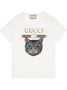 47eac61fa8 Compre Gucci Camiseta com aplicação Mystic Cat.