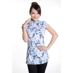 2014 Blue Floral Print Cheongsam Top