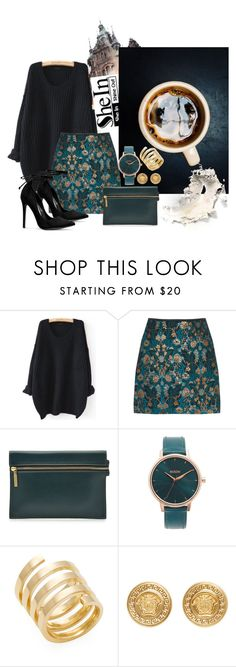 """""""Love Interruption"""" by nicolepuppy ❤ liked on Polyvore featuring Victoria Beckham, Nixon, Jennifer Zeuner, Versace, Winter, chic, contestentry, falltrend and shein"""