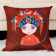 Creative Beijing Opera mask throw pillows Chinese style sofa cushions for couch
