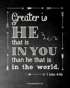 1 John James Version (KJV) Ye are of God, little children, and have overcome them: because greater is he that is in you, than he that is in the world. Bible Verses Quotes, Bible Scriptures, Gospel Quotes, Catholic Quotes, Religious Quotes, Lyric Quotes, Quotes Quotes, Encouragement, Religion