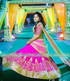 Shining bright like a star.   beautiful  bride Namitha looking more beautiful in our  pistagreen  pink  ensemble ..  arbride  indianwedding  celebstyle  bridal  indianfashion  indianbride  fashion  style  beauty  bigfatwedding  lehenga  madewithlove  21 January 2017