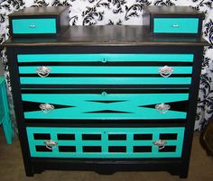 Vintage Hand Painted Geometric Black with Silver and Turquoise Accents Bedroom Dresser. $150.00, via Etsy.