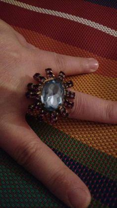 Flower Ring// rhinestone ring // purple // sky blue by truthorwear