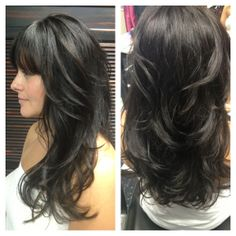 One of my clients with awesome hair! Goldwell color line. Dark brown, long layers with bangs