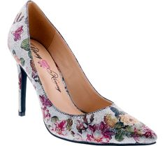Penny Loves Kenny Opus Metallic Floral Pointed Toe Pump(Women's) -Black Metallic Floral Polyurethane