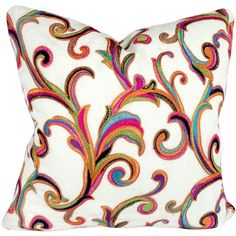 Colorful Floral Scroll Swirl Decorative Pillow Cover Throw Pillow Hot... ($35) ❤ liked on Polyvore featuring home, home decor, throw pillows, decorative pillows, home & living, home décor, silver, multi color throw pillows, hot pink accent pillows and multi colored throw pillows