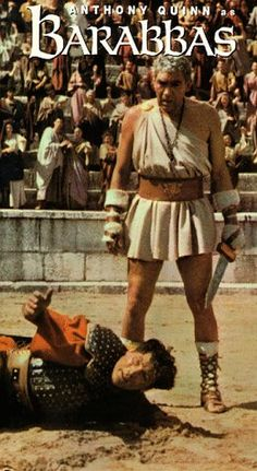 The original Diehard.  Film adaptation of the story of the militant released instead of Jesus. Anthony Quinn's Barabbas (1961) tries to understand the man who died instead of him.  Meanwhile the Romans try everything they can think of to kill him off.  How tough is he?  Not even Jack Palance managed to do him in.