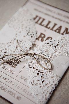 rustic invitations wrapped in doilies.. Cute @Priscilla Pham Pham Pham marie.