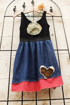 SALE Peace Hippie Jean Upcycled Dress