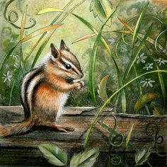 """Original Colored Pencil Drawing Chipmunk Woodland Animal Framed SFA 8.75"""" x 8.75""""  Green, Brown, Pale Yellow, Critter Art By Melody Lea Lamb..."""