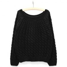 $11.25 Relaxed Scoop Neck Solid Color Cable Knit Sweater For Women