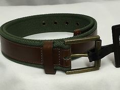 nice ADAM LEVINE MEN'S BELT GREEN CLOTH AND FAUX BROWN LEATHER - NWT - SIZE 34