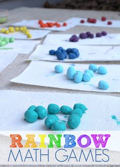 Painted Rainbow Math Counters for Math Games for Preschoolers with Painted Acorns. Preschool Math Games, Math Activities For Kids, Learning Games For Kids, Maths Puzzles, Learning Letters, Homeschool Math, Fun Math, Easy Math, Rainbow Activities
