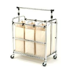 Laundry Sorter Cart - three compartments and a telescoping clothing rack!