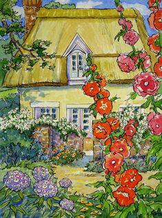 Set van 5 Storybook Cottage vintage geïnspireerde Notitiekaarten van originele aquarellen