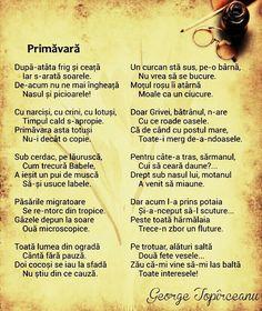Primavara - George Toparceanu Color Psychology, Nursery Rhymes, My Childhood, Alphabet, Language, Parenting, Romania, Songs, Halloween Party