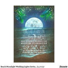Beach Moonlight Wedding Lights Invitation
