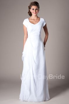 Hinckley - modest wedding dress with sleeves and light draping.