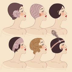 Vintage Hairstyles Flapper girls set: Hairstyle, headdress and makeup of A raster illustration. Great Gatsby Hairstyles, Vintage Hairstyles, Easy Hairstyles, Flapper Hairstyles, Updo Hairstyle, Wedding Hairstyles, Flapper Girls, 1920s Flapper, Carnival