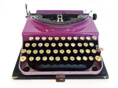purple typewriter *RARE* working vintage remington portable 3 fathers day gift for writer graduation gifts rustic wedding decor photo prop by thespectaclednewt on Etsy https://www.etsy.com/listing/197464291/purple-typewriter-rare-working-vintage