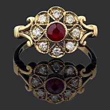 Ruby & Diamond Cluster Ring 2