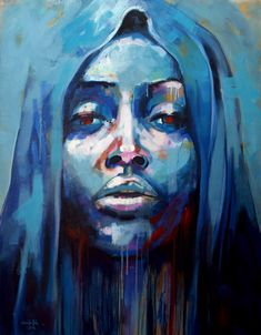 """Name: """"La Madonna Maculada (The Blemish Madonna)"""" Painting: Acrylic on canvas Dimensions: 150 x 120 x 4 cm. Blue girl, looking sad... Maybe something bad has happened under her hood!"""