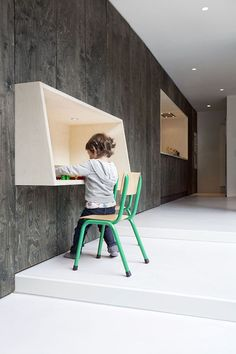 10 Favorites: Wall-Mounted Desks for Children (and Teens): Remodelista....do three of these in a row in new house