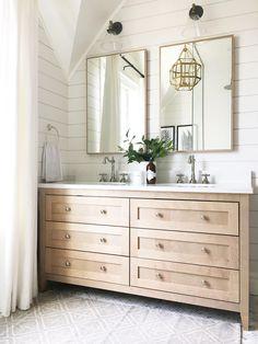 Top 10 Double Bathroom Vanity Design Ideas in 2019 - Double Bathroom Vanity Designs Ideas – Brown as well as White Double Vanity. An elevated double v - Bathroom Renos, Laundry In Bathroom, Bathroom Renovations, Bathroom Interior, Small Bathroom, Marble Bathrooms, Bathroom Modern, Wood Floor In Bathroom, Bright Bathrooms