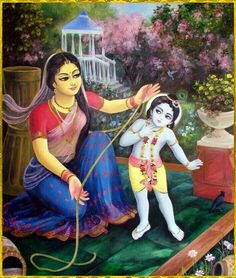 Seeing the fear in Krishna's eyes, Yashoda threw away the stick but decided that she would bind her naughty son to the grinding mortar as a punishment for His bad behavior. Krishna Lila, Little Krishna, Jai Shree Krishna, Cute Krishna, Radha Krishna Photo, Krishna Radha, Yashoda Krishna, Radha Krishna Wallpaper, Lord Krishna Images
