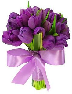 Exactly how i want my bouquet! Purple tulip bouquet with leaves and ribbon Beautiful Flower Arrangements, Floral Arrangements, Beautiful Flowers, Wedding Bouquets, Wedding Flowers, Wedding Plants, Tulip Bouquet, Flower Bouquets, Purple Tulips