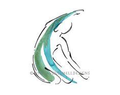 Pilates Art Print Short Spine on the Reformer by LindsaySatchell