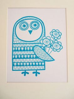 Retro Owl with love screen print by Jane Foster