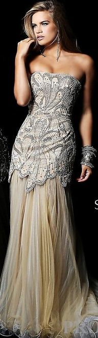 Beige and silver beaded gown
