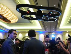 The Parrot A.R. Drone 2.0 is the new generation of its floating high-tech quadricopter