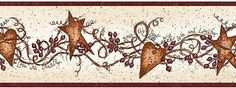 country hearts and stars kitchen decor | Hearts and Stars Wallpaper Border FAM65171B Primitive | Scarbrough Faire ...