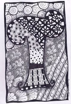 Zentangle Letter T Zebra Letters name bunting by ForeverTangles, £3.50