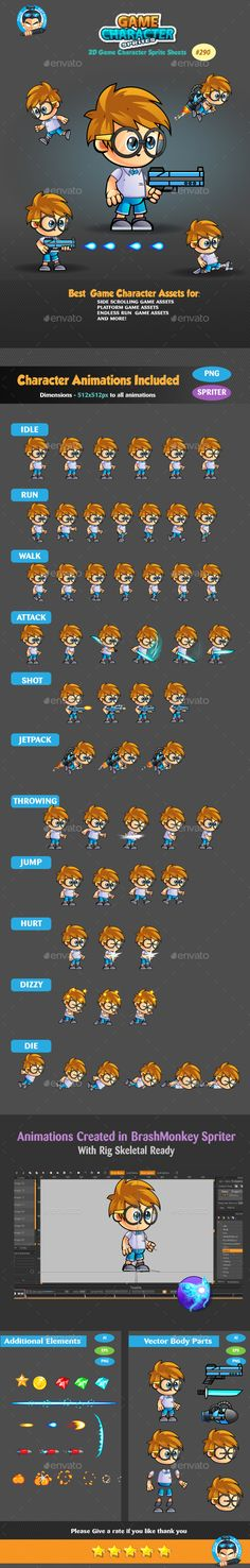 2D Game Character Sprites 290 Download here: https://graphicriver.net/item/2d-game-character-sprites-290/19168020?ref=KlitVogli