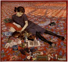 Girl on a red carpet  by Felice Casorati (1883-1963)