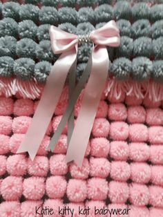Pom pom turnover baby girl blanket pink and silver ideal for