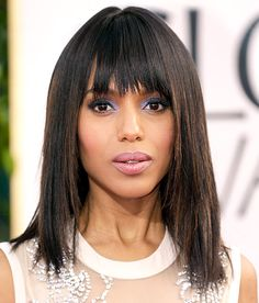 Kerry Washington    She bangs! The Django Unchained actress (in Miu Miu) showed off her medium length strands and blunt bangs on the 2013 Golden Globes red carpet.