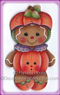 Pumpkin Gingerbread Painting E-Pattern Gingerbread Ornaments, Gingerbread Decorations, Christmas Gingerbread, Christmas Ornaments, Fall Crafts, Halloween Crafts, Holiday Crafts, Diy And Crafts, Pumpkin Costume