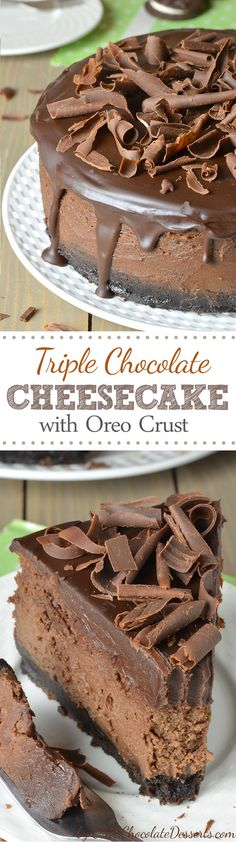 Triple chocolate delight- chocolate cookie crust chocolate cheesecake filling and chocolate topping garnished with chocolate curls.