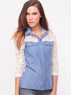 KOOVS Lace Sleeve Shirt