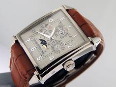 Girard Perregaux Vintage 1945 Perpetual Calendar White Gold 550 for sale online High End Watches, Fine Watches, Men's Watches, Amazing Watches, Cool Watches, Vintage Watches For Men, Vintage Men, Cartier Santos Watch, Gentleman Watch