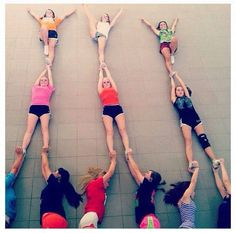 cheer quotes This is so funny xD they are laying down hahaha looks cool though, it would be fun to do:) Cheer Coaches, Cheer Mom, Cheer Stuff, Cheer Hair, Cute Cheer Bows, Team Cheer, Varsity Cheer, Cheer Routines, Cheer Workouts